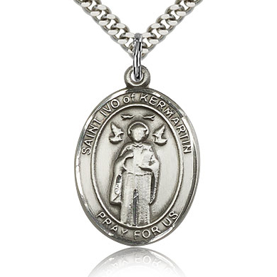 Sterling Silver 1in St Ivo Medal & 24in Chain