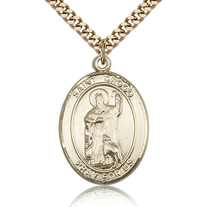 Gold Filled 1in St Drogo Medal & 24in Chain