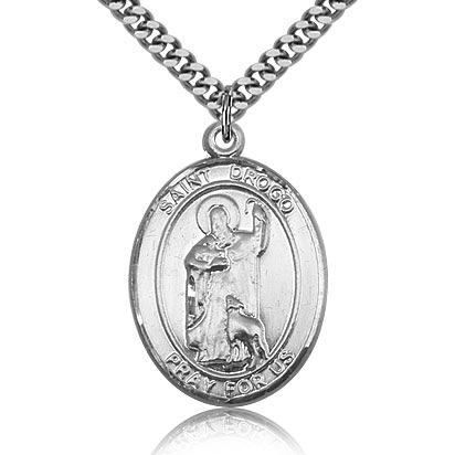 Sterling Silver 1in St Drogo Medal & 24in Chain