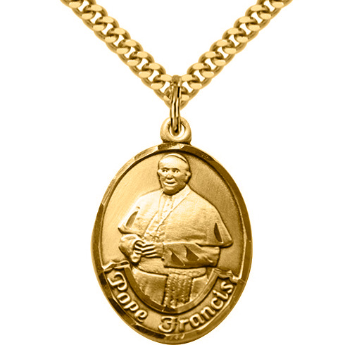 Gold Filled 1in Pope Francis Medal & 24in Chain