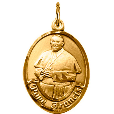 14kt Yellow Gold 1in Pope Francis Medal