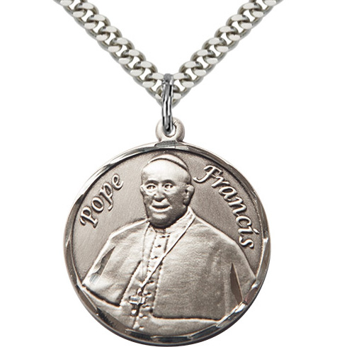 Sterling Silver 1in Pope Francis Medal & 24in Chain