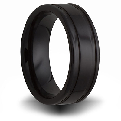 7mm Black Ceramic Ring with Channels