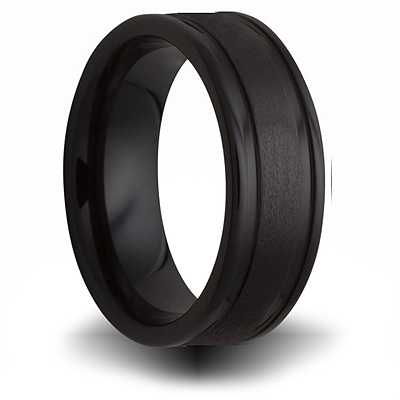 7mm Black Ceramic Brushed Ring with Channels
