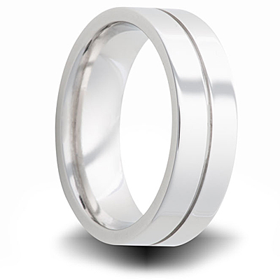 Cobalt 7mm Polished Flat Wedding Band with Groove