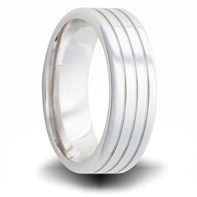Cobalt 7mm Polished Pipe Wedding Band with Grooves