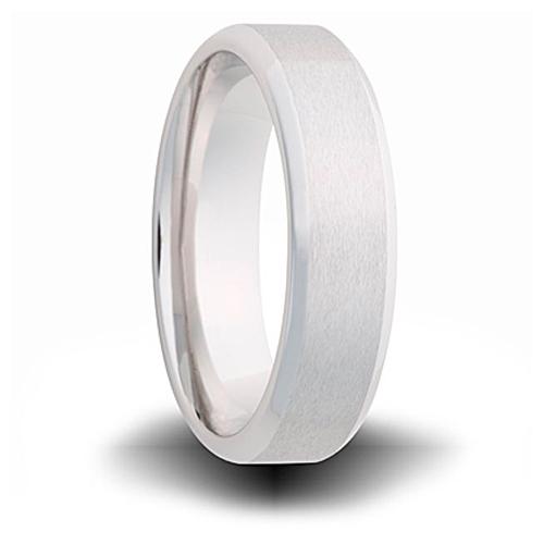 Cobalt 7mm Brushed Wedding Band with Beveled Edges