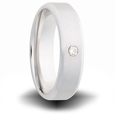 Cobalt 7mm Brushed Ring with Diamond Accent