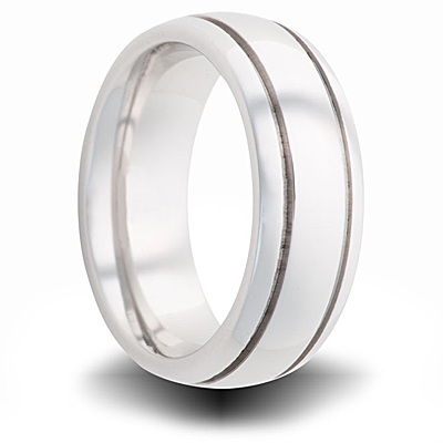 Cobalt 7mm Polished Dome Band with Grooves
