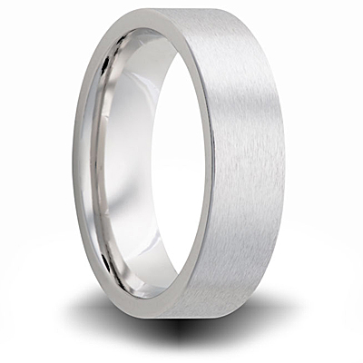 Cobalt 7mm Brushed Pipe Cut Wedding Band
