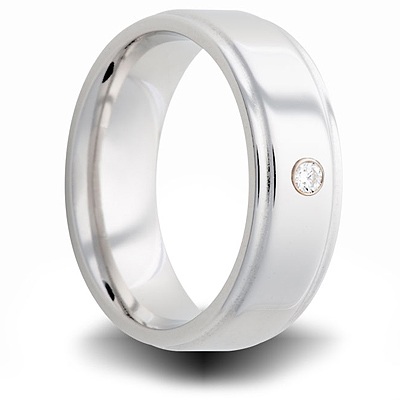 Cobalt 7mm Step Down Ring with Diamond Accent