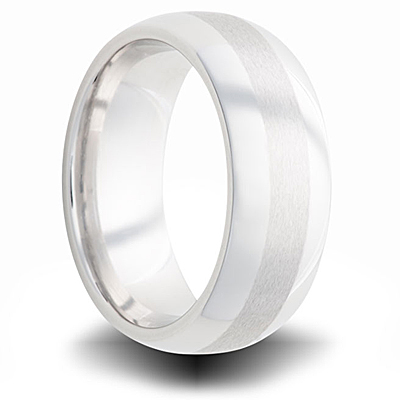 Cobalt 7mm Dual Finish Domed Wedding Band