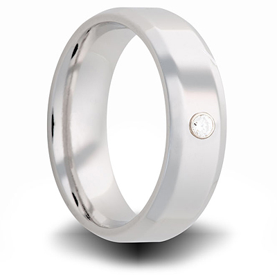 Cobalt 7mm Beveled Ring with Diamond Accent