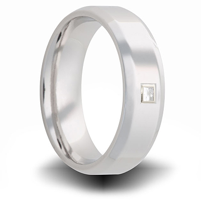 Cobalt 7mm Beveled Ring with Square Diamond Accent