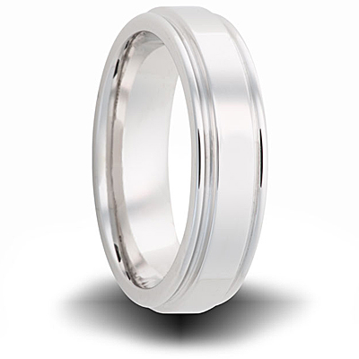 Cobalt 7mm Polished Band with Grooved Edges