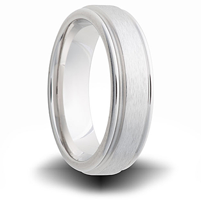 Cobalt 7mm Brushed Wedding Band with Grooved Edges