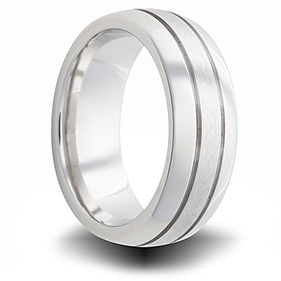 Cobalt 7mm Dual Finish Domed Band with Grooves