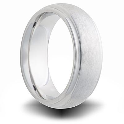 Cobalt 7mm Brushed Domed Band with Grooves
