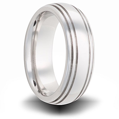 Cobalt 7mm Polished Domed Band with Grooves