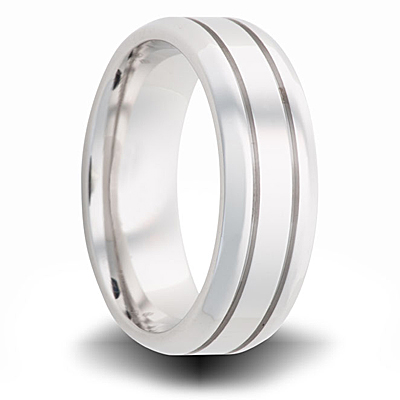 Cobalt 7mm Polished Pipe Cut Beveled Band with Grooves