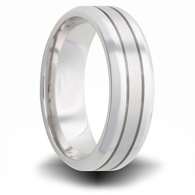 Cobalt 7mm Dual Finish Pipe Cut Beveled Band with Grooves