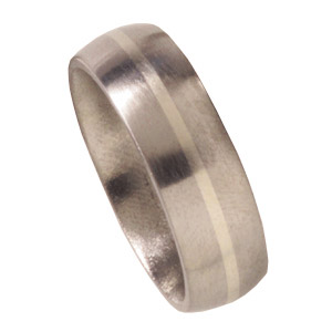 7mm Domed Titanium Wedding Band with 14kt White Gold Inlay