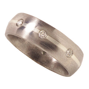 7mm Titanium Band Satin with Diamonds and Sterling Silver Inlay