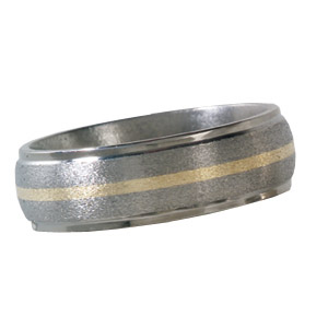 7mm Titanium Band with 14kt Yellow Gold Inlay and Grooved Edges