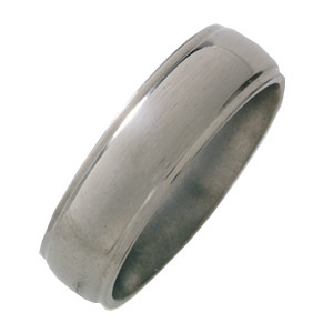 7mm Titanium Band Domed with Grooved Edges