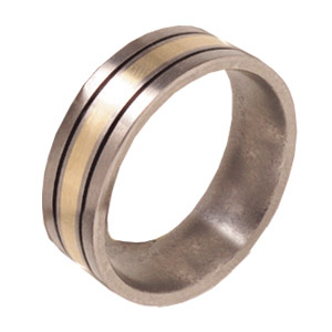 7mm Satin Titanium Band with 14kt Yellow Gold Inlay and Black Enamel