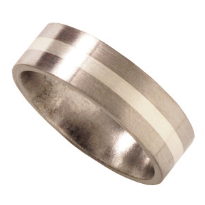 Titanium 7mm Satin Flat Wedding Band with Sterling Silver Inlay