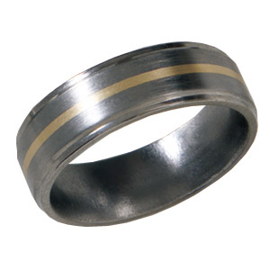 7mm Satin Titanium Band 14kt Yellow Gold Inlay and Flat Grooved Edges
