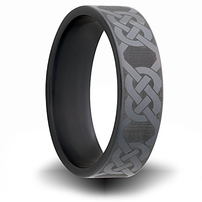 Black Zirconium Ring 7mm with Knot Design