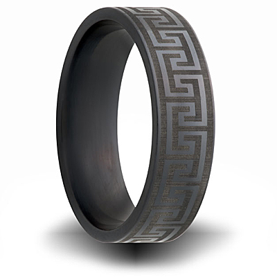 7mm Black Zirconium Ring with Greek Design