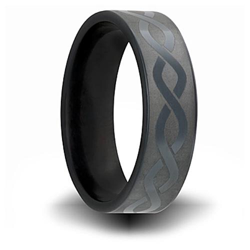 7mm Black Zirconium Ring with Helix Design
