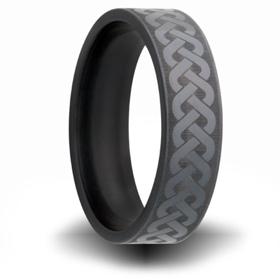7mm Black Zirconium Ring with Weave Design