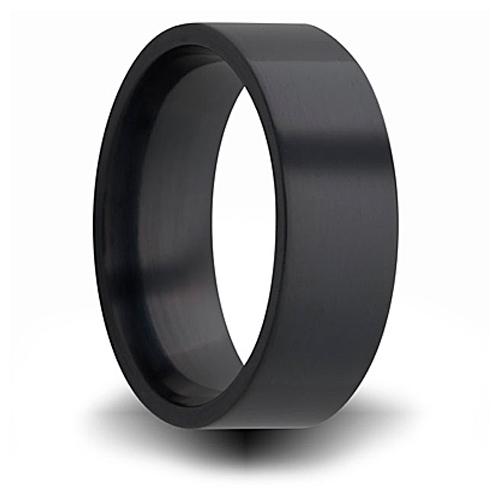 7mm Black Zirconium Pipe Cut Ring