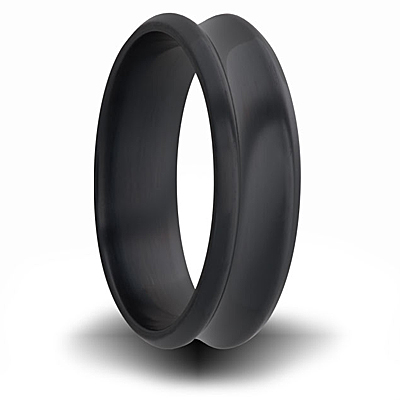 7mm Black Zirconium Concave Ring