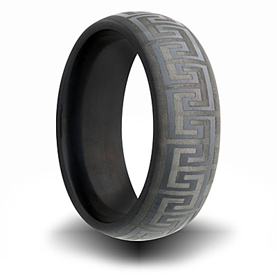 Black Zirconium Greek Key Design Ring 7mm