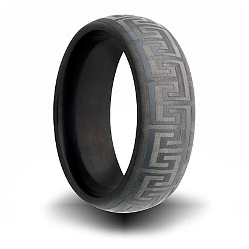 7mm Black Zirconium Ring with Greek Design