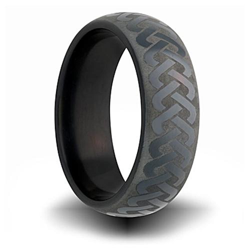 7mm Black Zirconium Ring with Knot Design