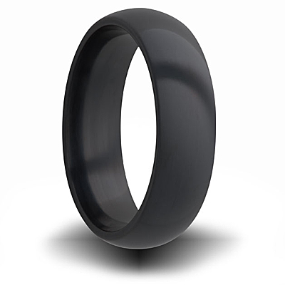 7mm Black Zirconium Domed Ring