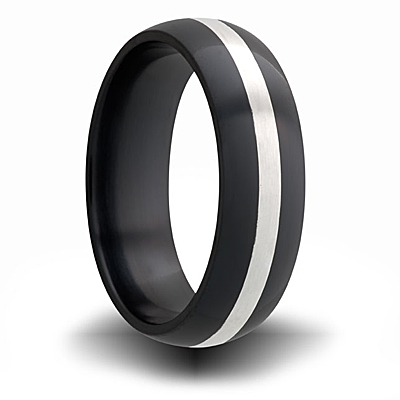 7mm Black Zirconium Domed Ring with Sterling Silver Inlay