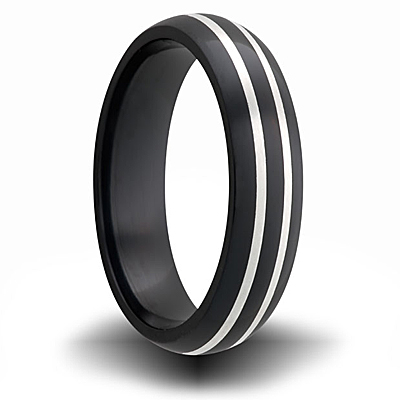 Black Zirconium 7mm Domed Ring with Two Sterling Silver Inlays