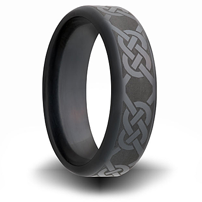 Black Zirconium 7mm Ring with Knot Design