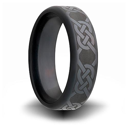 Black Zirconium 7mm Ring with Knot Design