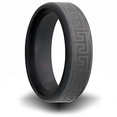 Black Zirconium 7mm Ring with Greek Key Design