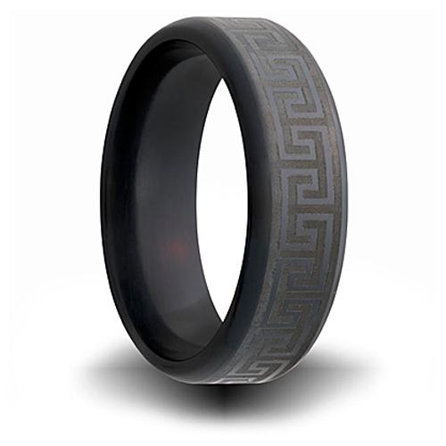 Black Zirconium 7mm Ring with Greek Key Design