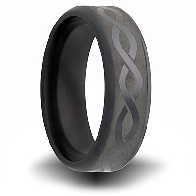 Black Zirconium 7mm Ring with Helix Design