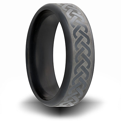 Black Zirconium 7mm Ring with Weave Design